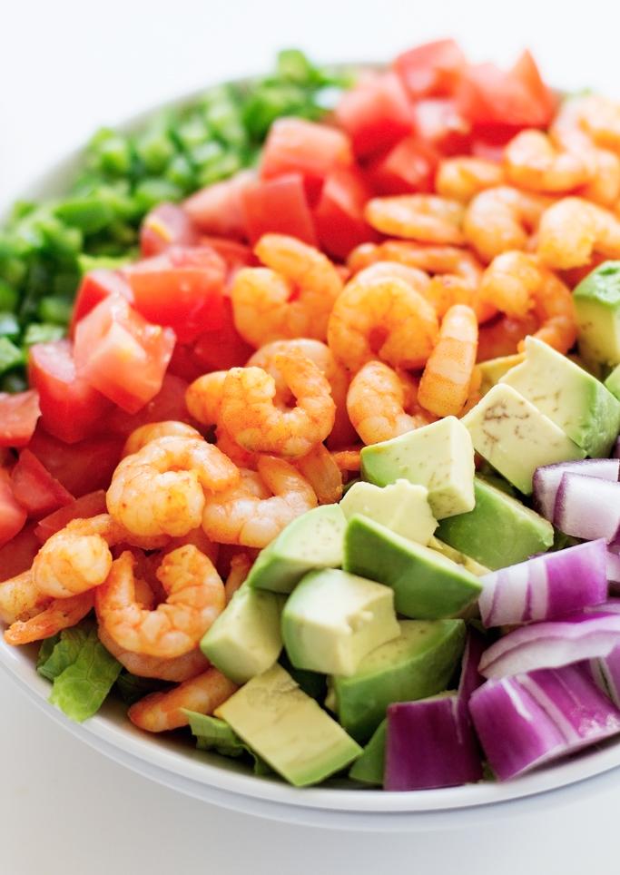 Avocado Shrimp Salad with Cumin Lime Dressing Recipe | Little Spice ...